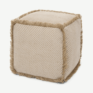 Kirby Square Textured Pouffe, Jute & Taupe Cotton Blend