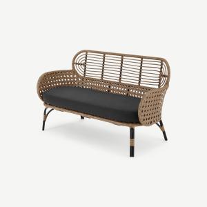 Swara Garden 2 Seater Sofa, Polyrattan and Black